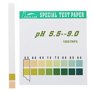Precision PH Test Strips Short Range 5.5-9.0 Indicator Paper Tester 100 Strips Boxed w/ Color Chart