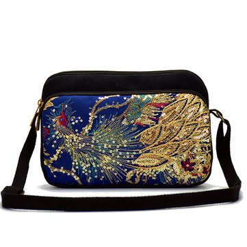 Women National Embroider Peacock Canvas Sling Bag Shoulder Crossbody Bag