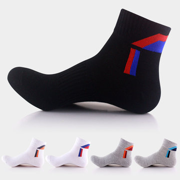 Men Cotton Blend Sports Basketball Colors Patchwork Mid-tube Socks
