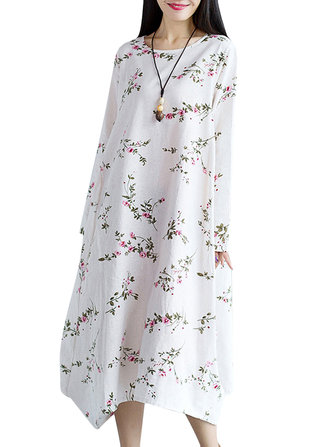 Vintage Women Loose Floral Printed Long Sleeve Cotton Dress