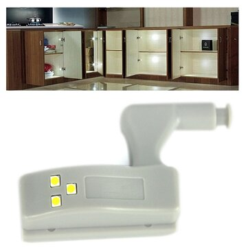 1X 3X 5X 10X LUSTREON Battery Powered Hinge LED Night Light For Kitchen Bedroom Cabinet Cupboard Closet