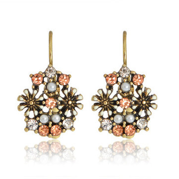 Retro Rhinestone Flower Earrings Diamond Pearl Ear Drop Earring For Women