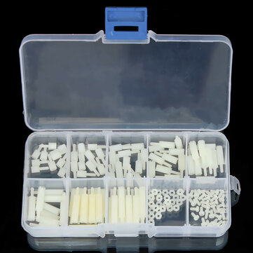 Suleve™ M2NH2 M2 Nylon Screw White Hex Screw Nut Nylon PCB Standoff Assortment Kit 140Pcs