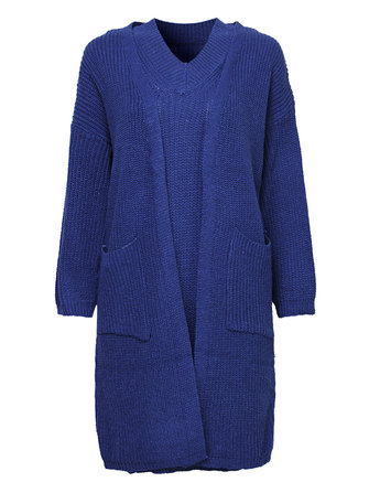 Elegant Women Pure Color Two-Piece Pure Color Sweater Dress Cardigan
