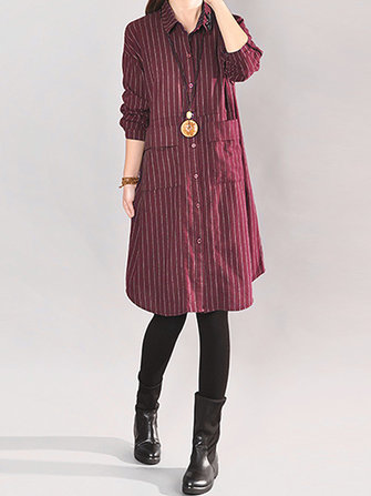 Casual Women Plaid Pocket Turn-Down Collar Long Sleeve Dresses