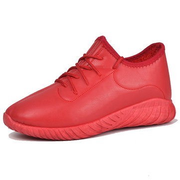 Red Color Comfy Lace Up Sneakers Casual Shoes