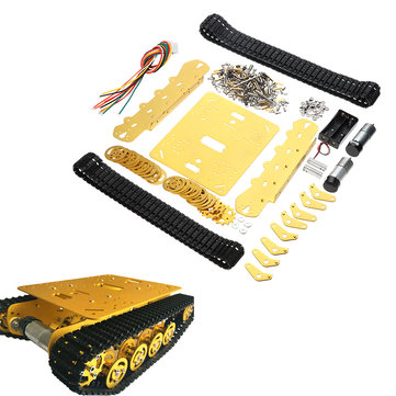 TS100 Intelligent Shock Absorption Metal Robot Tank Chassis Car Kit Golden Color/Dual Motor