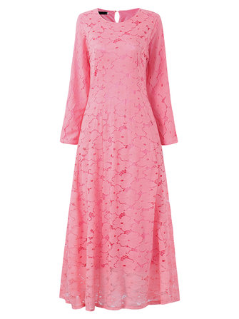 Elegant Women Long Sleeve Lace Crochet Pure Color Maxi Dresses