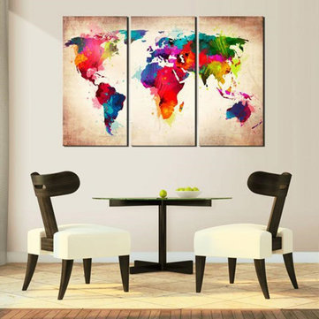 3 Pcs Abtract World Map Canvas Print Paintings Wall Art Picture Decor Unframed Home Decorations