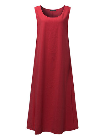ZANZEA Women Maxi Dresses Summer Loose Casual O-Neck Sleeveless Cotton Dress