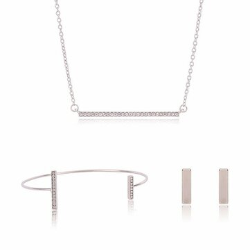 Alloy Rhinestone Rectangle Necklace Earrrings Jewelry Set