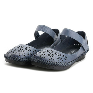 SOCOFY Hollow Out Hook Loop Soft Retro Flat Shoes