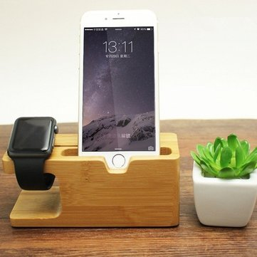 Bamboo Universal Dock Station Bracket Cradle Stand Holder for under 8 inch Smartphone iPhone Apple Watch