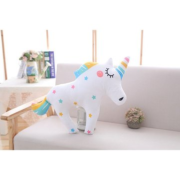 Stuffed Pillow Unicorn Horse Short Plush Soft Throw Cushion Office Home Decor Toy Gift Collection