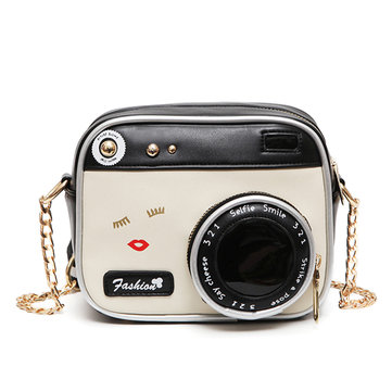 Women's Crossbody Bag Vintage Camera Shape Colorblock Zipper Bag