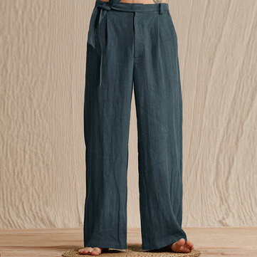 TWO-SIDED Mens Cotton Breathable Loose Wide Leg Pants Casual Trousers