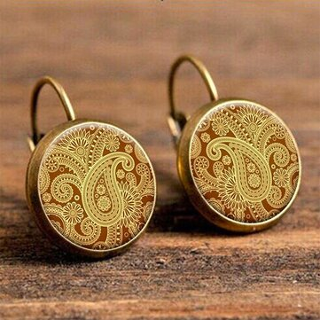 Retro Round Drop Earrings Custom Flower Earrings French Hook Earring For Women