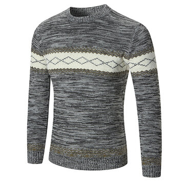 Autumn Winter Men's Fashion Wild Style Sweater Casual Printing Round Neck Sweater
