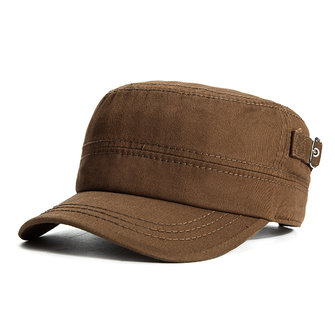 Men Retro Solid Cotton Flat Top Hat Casual Military Sport Baseball Caps
