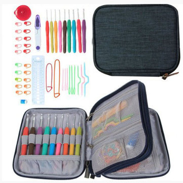 Crochet Needle Hooks Set Organiser Case AccBearded Sewing Suit With 45 Piece Attach One Storage Bag