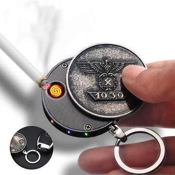IPRee® Outdoor Portable EDC Keychain Metal Cigarette Lighter USB Rechargrable Fire Starter