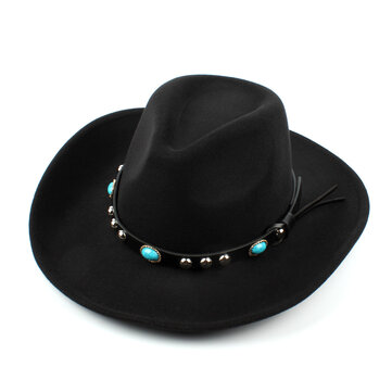 Mens Women Vintage Woolen Western Cowboy Hat Wide Brim Cowgirl Jazz Cap Horse Riding Hat