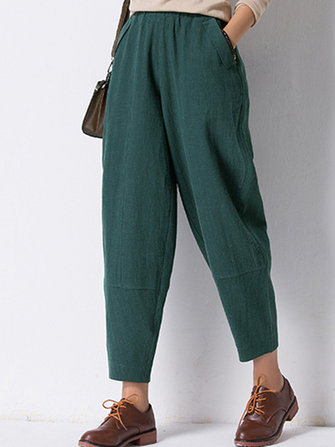 Gracila Solid Color Elastic Waist Long Pants