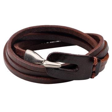 Leather Multilayers Buckle Men Bracelet Bangle Chain Accessories