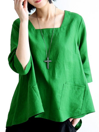 Women Three Quarter Sleeves Irregular Hem Blouse