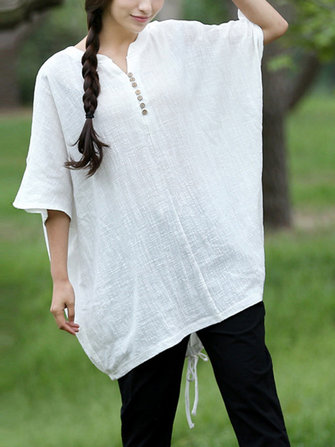 Women Wood Button Drawstring Solid Cotton Linen T-shirt