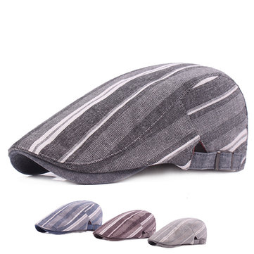 Mens Striped Linen Beret Hat Fashion Summer Sunshade Forward Caps Adjustable