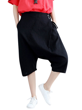 Women Elastic Waist Hip-hop Capri Pants Black Pockets Harem Pants
