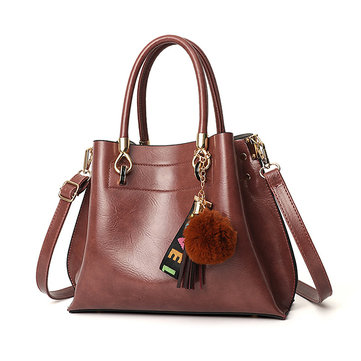 Women Leisure Faux Leather Handbag Tassel Crossbody Bag