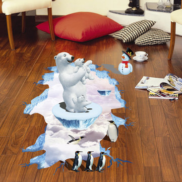 Miico Creative 3D Animal Polar Bear Penguin Removable Home Room Decorative Wall Floor Decor Sticker