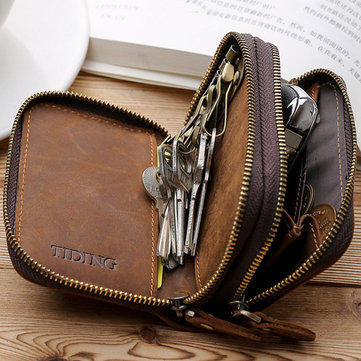 Vintage Genuine Leather Double Layers Key Bag