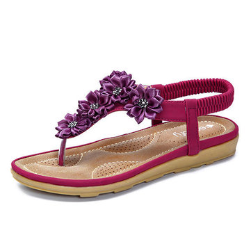 SOCOFY Bohemian Flower Beach Sandals