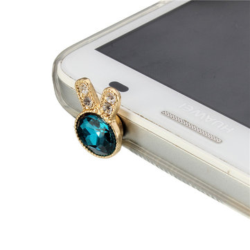 Crystal Rabbit Anti Dust 3.5mm Earphone Plug Stopper Cap Cover Universal For iPhone Mobile Phone