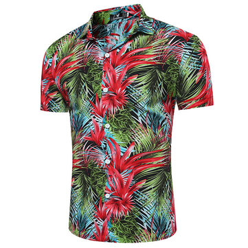 Summer Casual Beach Holiday Hawaiian Flower Print Shirt pour homme