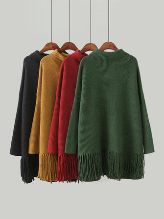 Plus Size Casual Women Tassel Hem Sweaters