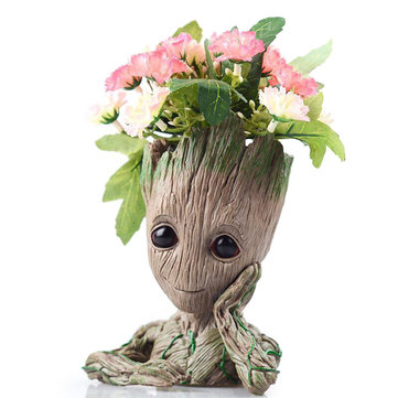 Garden Baby Groot Flower Pot Vase Pen Pot Action Figures Toy Model Groot Hero Guardians Of The Galaxy Handicraft Figurine