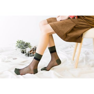 Women Girls Summer Sexy Glass Silk Breathable Socks Thin Transparent Ankle Socks