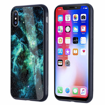 Bakeey™ Colorful Tempered Glass Back TPU Frame Case for iPhone X
