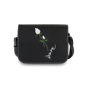 Women Soft Leather Rose Embroidered Shoulder Bag