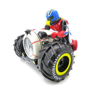 Flytec 989-333 2.4G Amphibious Three Wheel Drive Stunt RC Car Motorcycle Boat Toys With LED Light
