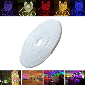15M 2835 LED Flexible Neon Rope Strip Light Xmas Outdoor Waterproof 110V