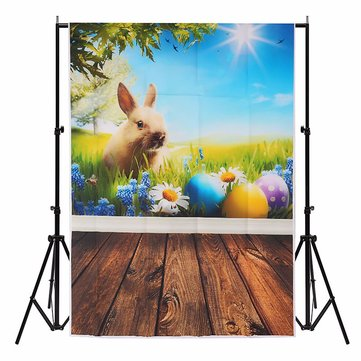 3x5FT Vinly Rabbit Flower Glass Spring Photography Backdrop Background Studio Prop