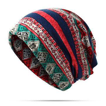 Women Priting Cotton Beanie Hat Double -use Collar Scarf And Warm Skull Hat