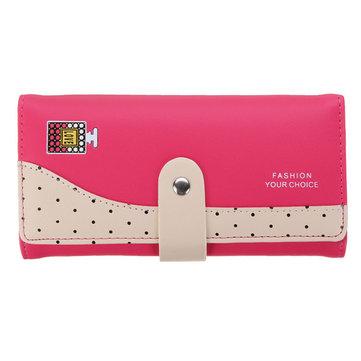 Women Candy Color Dot Long Wallet Girls Hasp Cute Perfume Bottle Purse Card Holder Coin Bags