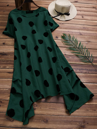 Cotton Polka Dot Short Sleeves Asymmetrical Dress