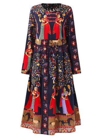 Gracila Print Plate Buckle Folk Style Vintage Dress